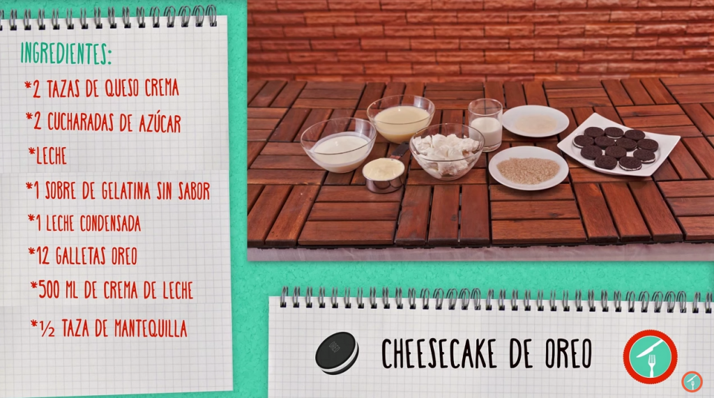 Ingredientes Cheesecake Oreo